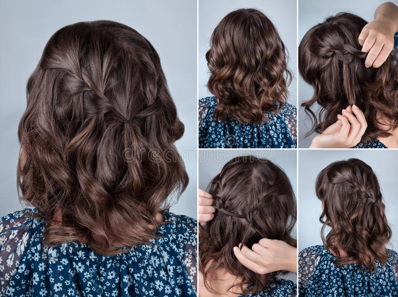 Simple hairstyle tutorial royalty free stock image