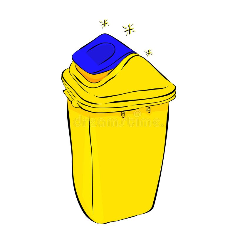 Vector simple hand draw sketch, Yellow and Blue Clean Empty Trash at white background royalty free illustration