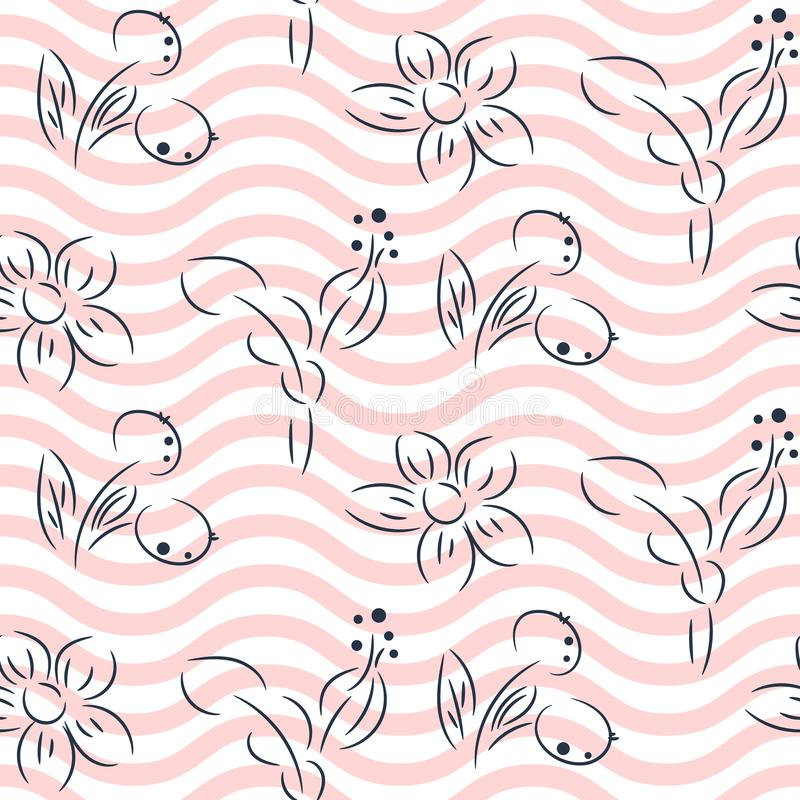Simple hand drawn flower pattern and pink wavy lines vector design. royalty free illustration