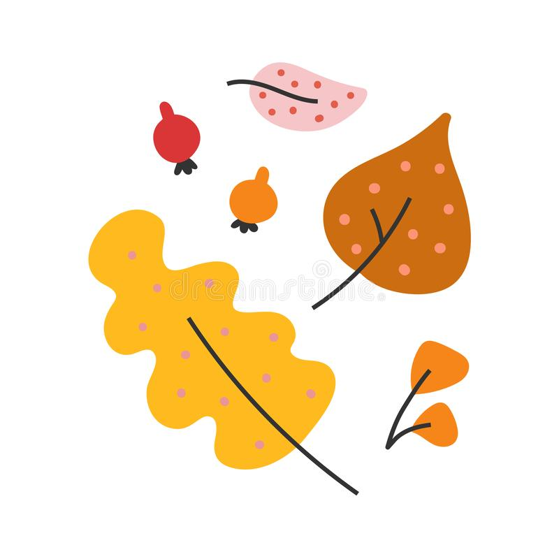Simple hand drawn illustration of colorful various autumn leaves. Outdoors seasonal autumn activity. Vector doodle drawing in modern trendy flat style royalty free illustration