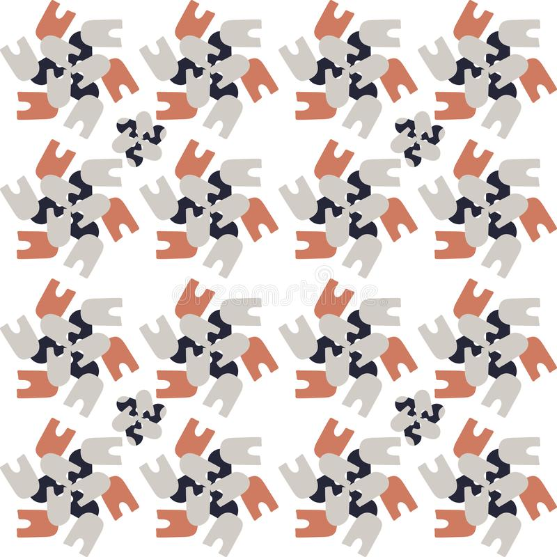 Simple hand drawn mosaic pattern of abstract shapes, vector seamless background stock illustration