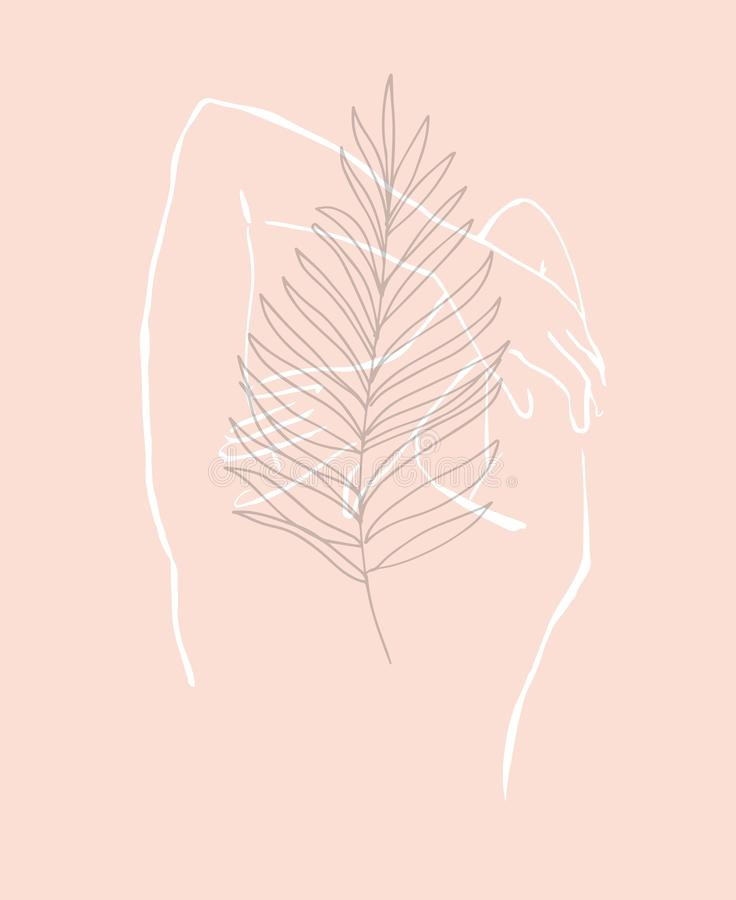 Simple hand drawn trendy line silhouette woman. Modern minimalism art, aesthetic contour. Abstract women`s silhouette, minimalist royalty free illustration