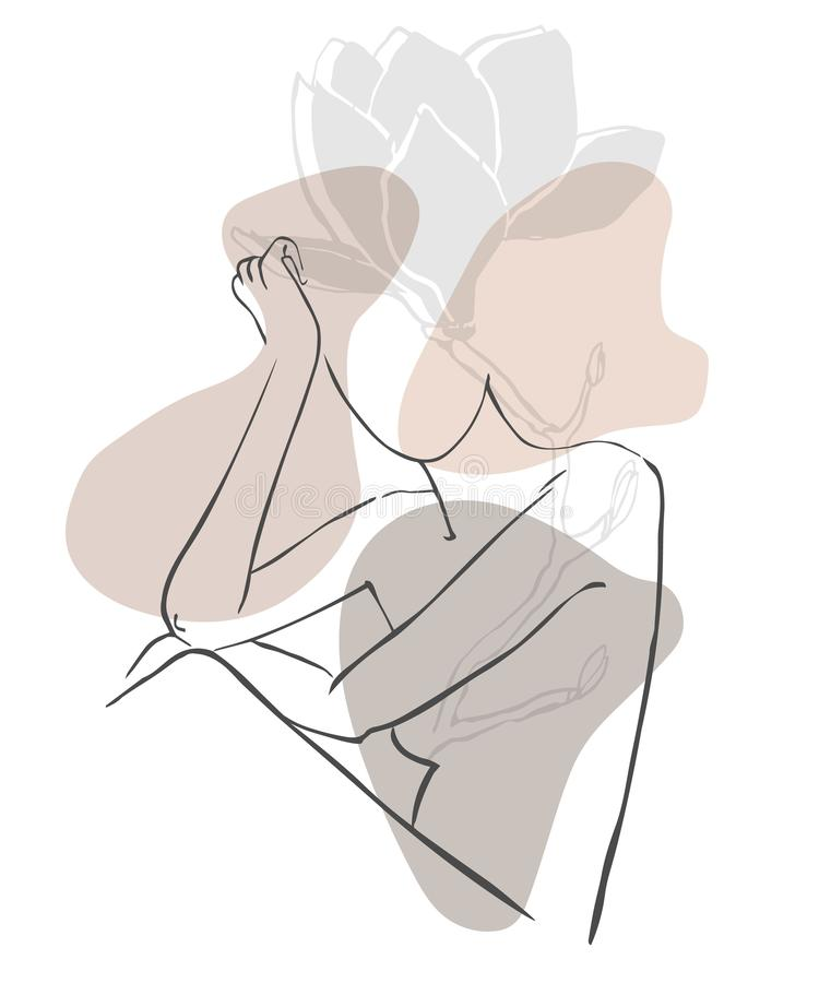 Simple hand drawn trendy line silhouette woman. Modern minimalism art, aesthetic contour. Abstract women`s silhouette, minimalist vector illustration