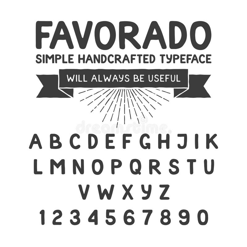 Simple handcrafted typeface, alphabet stock illustration