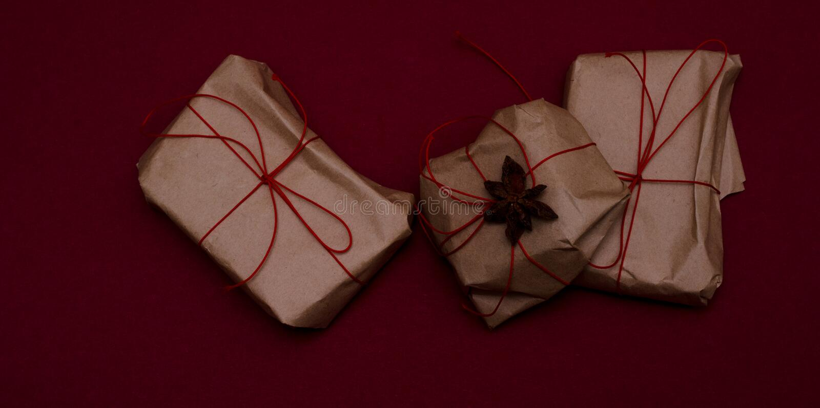 Simple handmade wrapped gifts stock photography