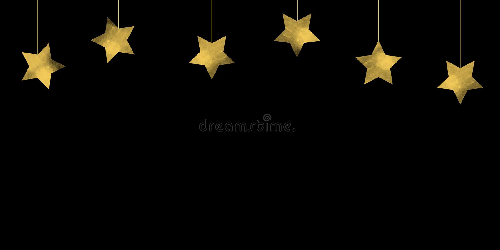 Simple Dropping star or hanging stars on black background Christmas backgrounds. This illustration is yellow stars dropping on black background, Christmas or New royalty free illustration