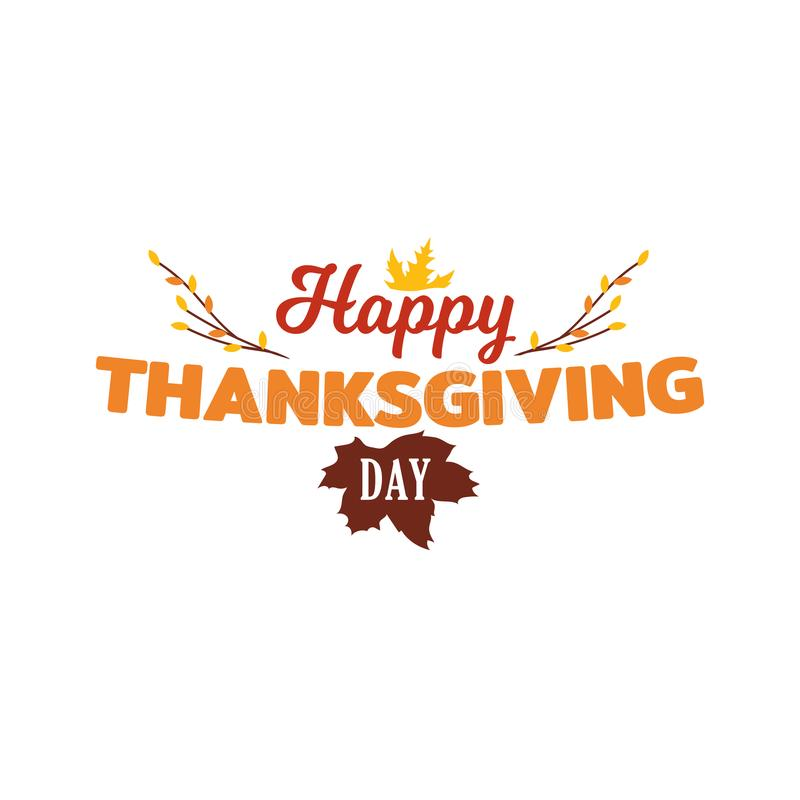 Simple happy thanksgiving day typography vector design with autumn fall twigs illustration. vector illustration