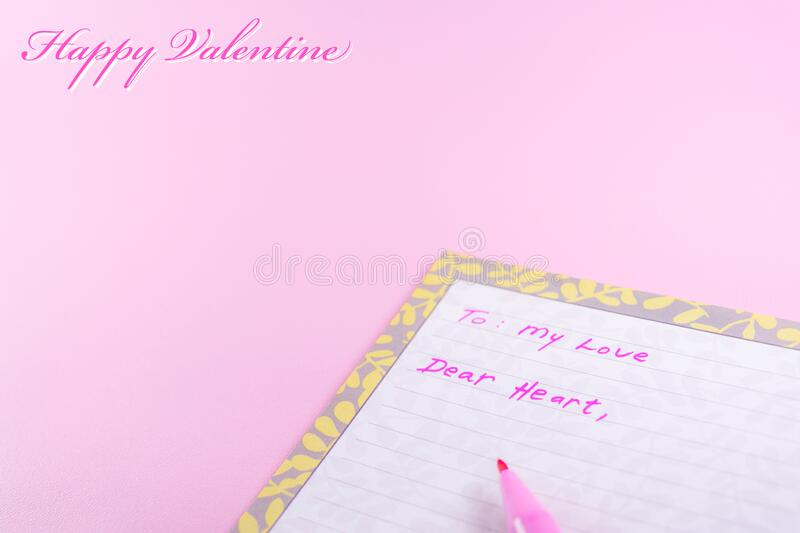 Simple happy valentine day greeting card template with text and love letter on pink background. Simple happy valentine day greeting card template with text and stock photography