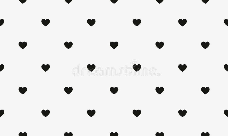 Simple heart shape seamless pattern in diagonal arrangement. Love and romantic theme background. Black and white vector wallpaper. royalty free illustration