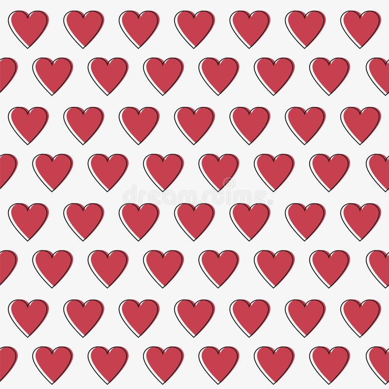Simple hearts seamless vector pattern. Valentines day background. Flat design vector illustration