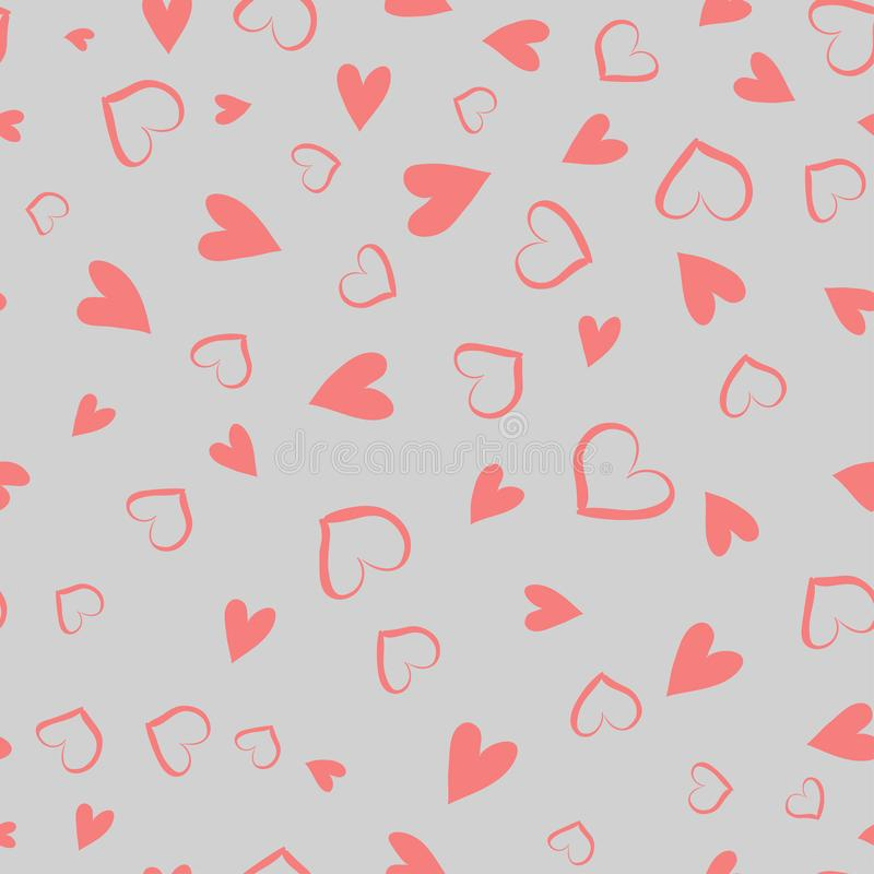 Simple hearts seamless vector pattern. Valentines day background. Flat design endless chaotic texture made of tiny heart royalty free illustration