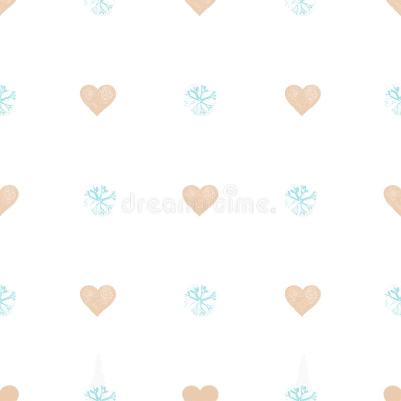 Simple hearts and snowflakes seamless pattern. Valentines day background. royalty free illustration