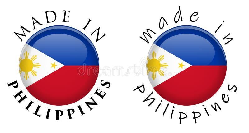 Simple hecho en muestra del botón de Filipinas 3D Texto alrededor de los wi del círculo stock de ilustración