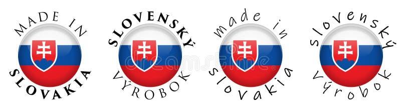 Simple hecho en traducción eslovaca del vyrobok de Eslovaquia/de Slovensky stock de ilustración