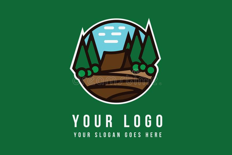 Simple Hiking Logo Template. Suitable for camping, exploring, hiking, adventure, agency, business, hunting vector illustration