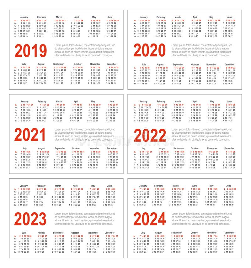Simple horizontal calendar for 2019, 2020, 2021, 2022, 2023 and 2024 years. Pocket calendars. Week starts from Sunday vector illustration