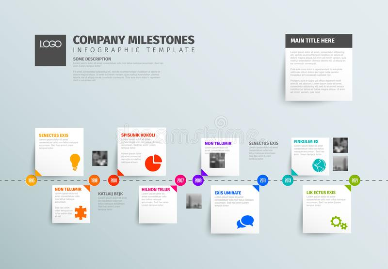 Simple horizontal timeline with some facts, photos and icons vector illustration