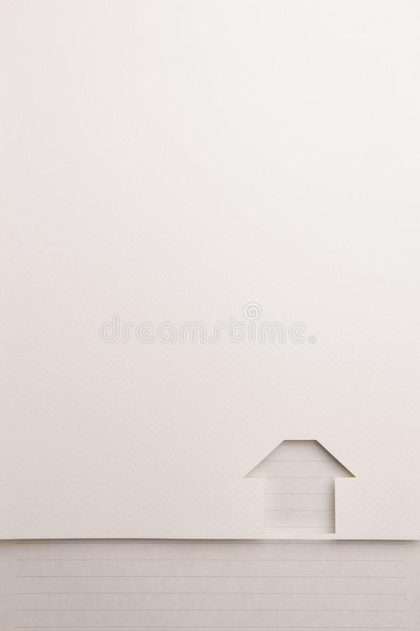 Simple house cutout background by black line note border. Background of white paper cutout in simple house shape border by black line notepaper, for home and stock images