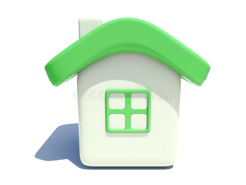 Simple house with green roof stock photography