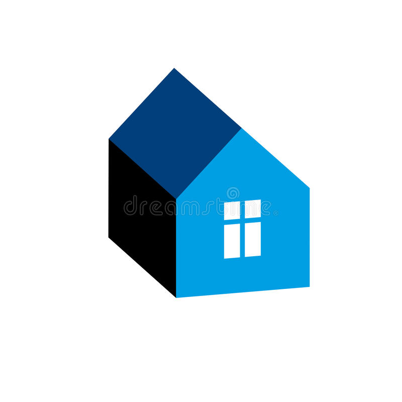 Simple house icon for graphic design, mansion conceptual symbol, vector property image. Real estate business abstract emblem. stock illustration