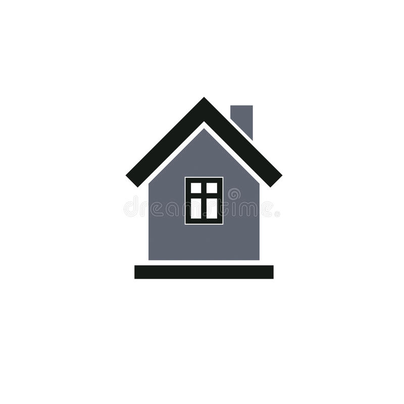 Simple house icon for graphic design, mansion conceptual symbol stock illustration