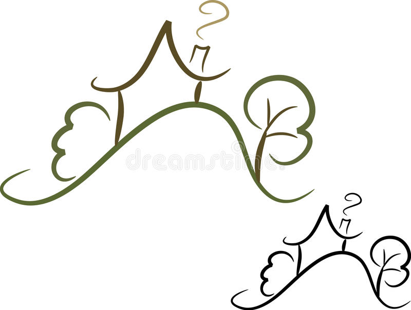 Simple house icon (II). Simple line-art illustration of a house in the country; two color versions included