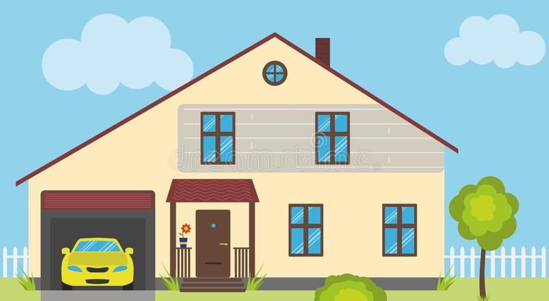 Simple house illustration stock photo