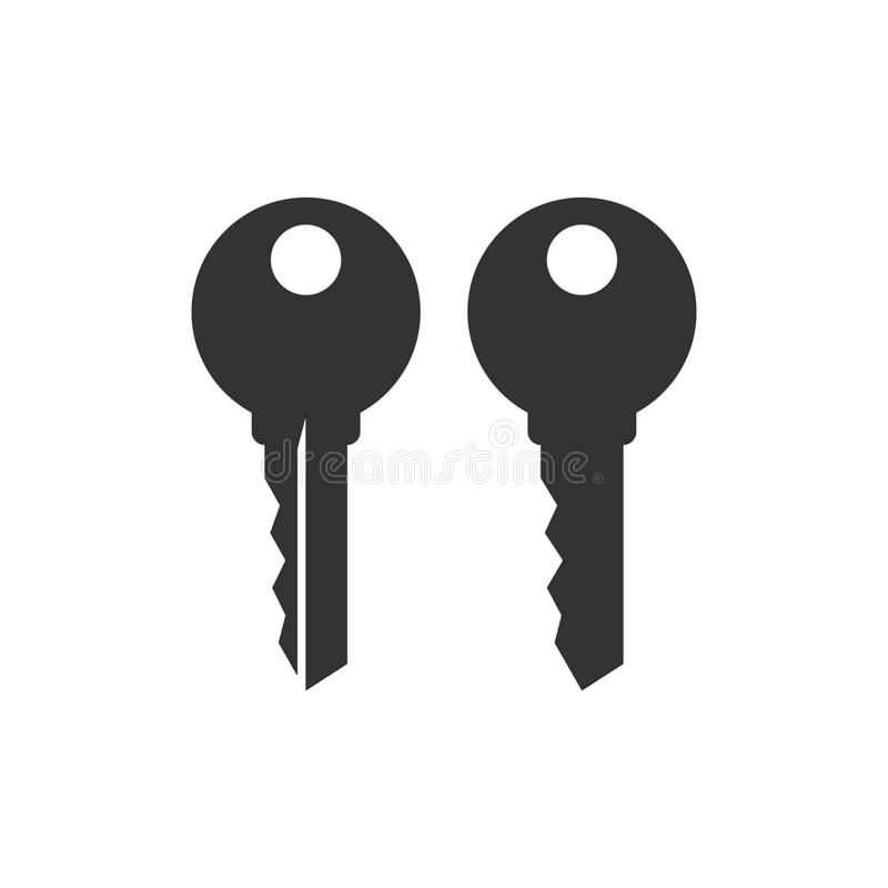 Simple house key black vector silhouette icon set. royalty free illustration