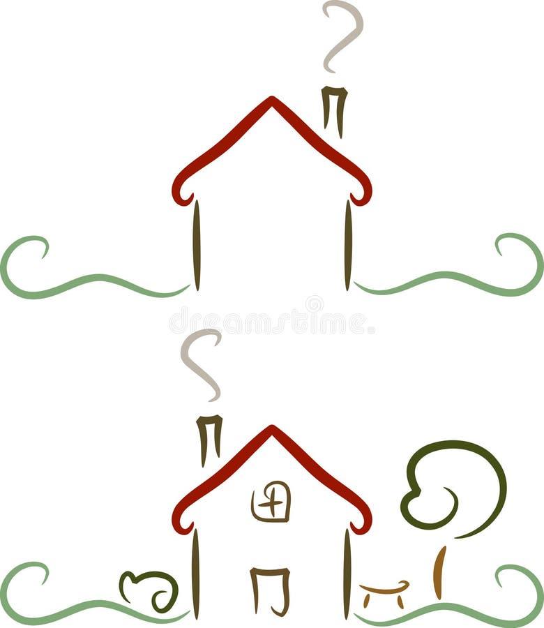 Simple house logo illustration stock illustration