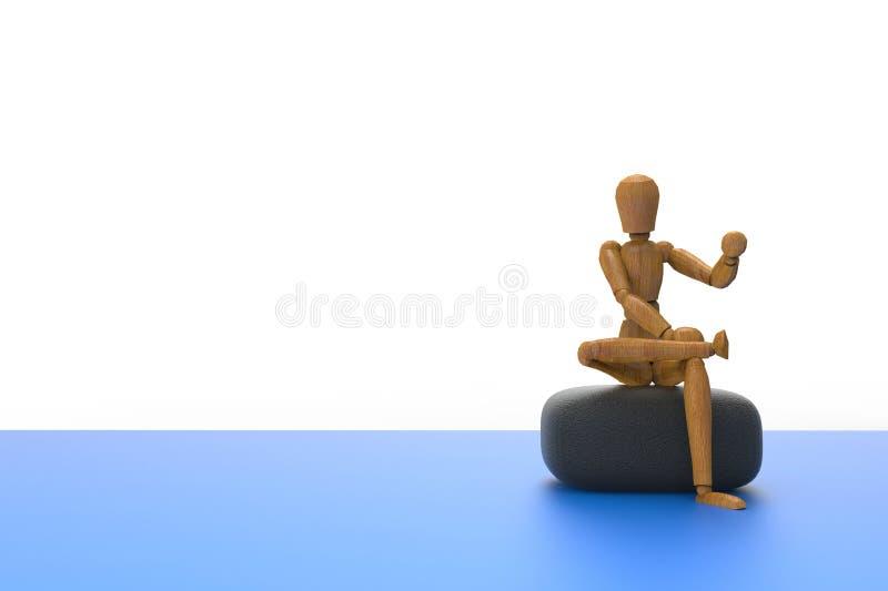 Simple humano creativo del sittingl del icono de la idea abstracta aislado en el fondo blanco stock de ilustración