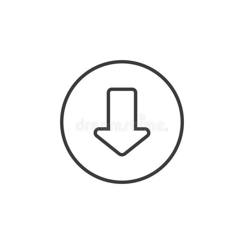 Simple icône de flèche de schéma vers le bas dans un cadre rond illustration de vecteur