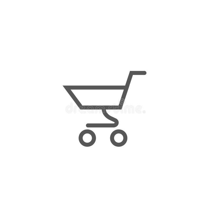 Simple icône ensemble de vecteur de chariot à supermarché de schéma illustration stock