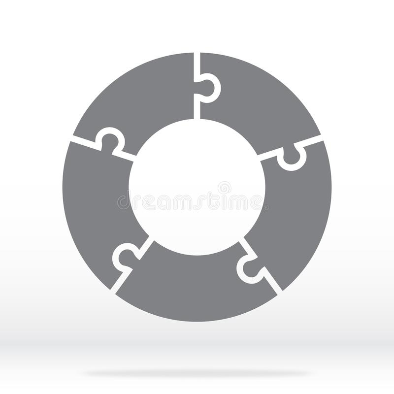 Simple icon circle puzzle in gray. Simple icon circle puzzle of the five elements. stock illustration