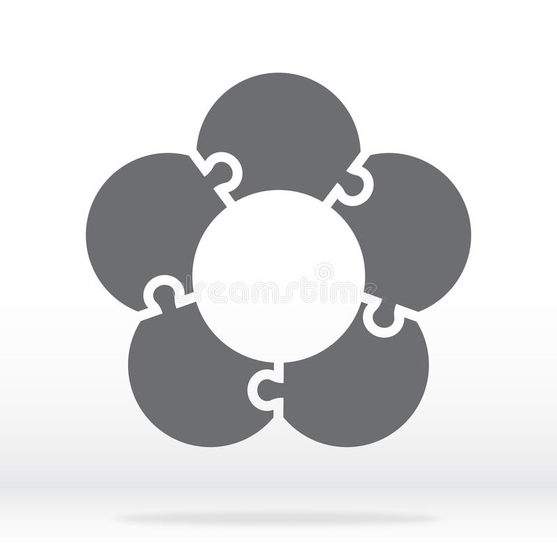 Simple icon flower puzzle in gray. Simple icon flower puzzle of the five elements. Flat design. stock illustration