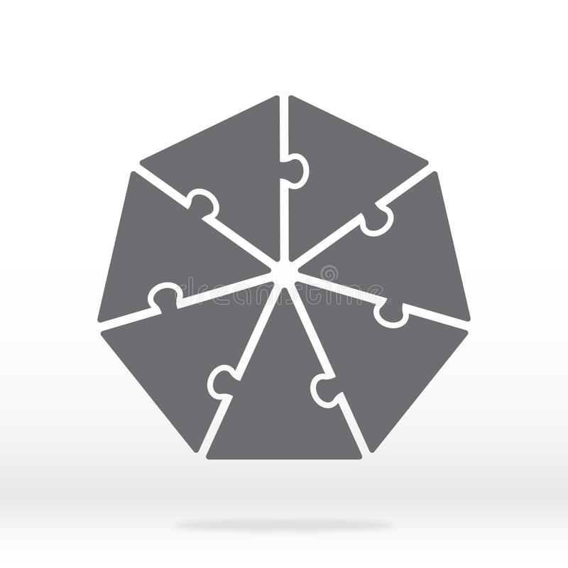 Simple icon heptagon puzzle in gray. Simple icon heptagon puzzle of the seven elements. vector illustration