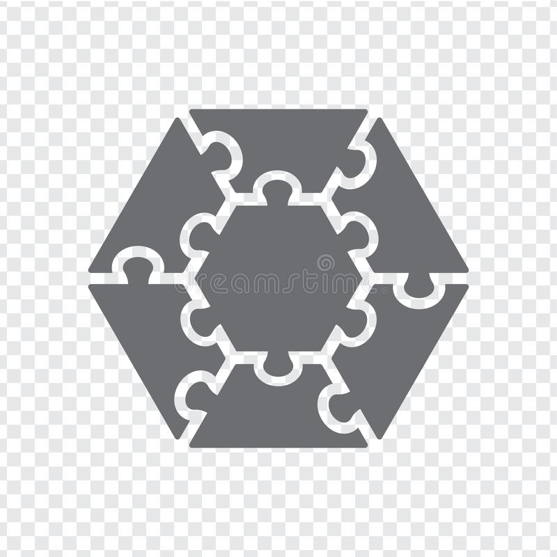 Simple icon hexagon puzzle in gray. Simple icon hexagon puzzle of the seven elements on transparent. vector illustration