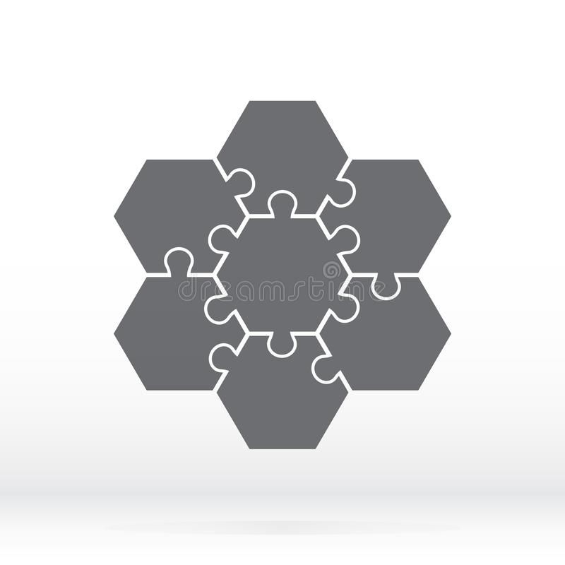 Simple icon hexagonal puzzles in gray. Simple icon puzzle of the seven elements. royalty free illustration