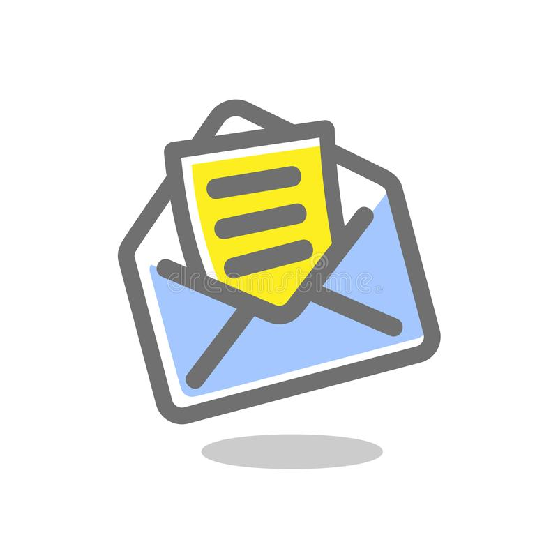 Simple icon letter in an envelope. Mail icon. Vector illustration.. Bright, colored sign on a white background. Vector icons collection royalty free illustration