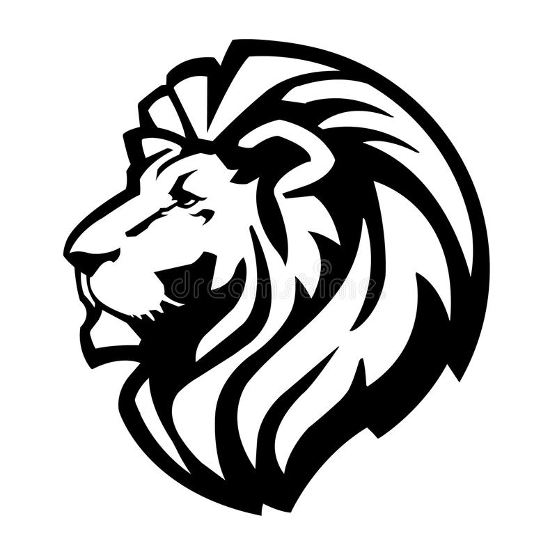 Lion Head Icon. A simple, icon of a lions head stock illustration