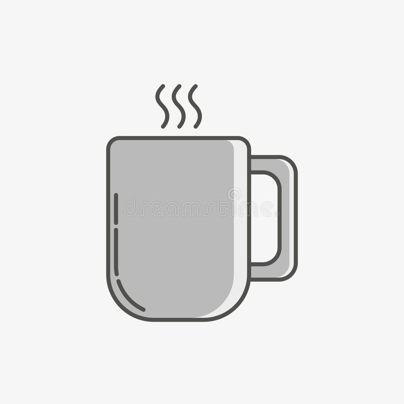 A simple icon of a mug with hot drink. stock photography