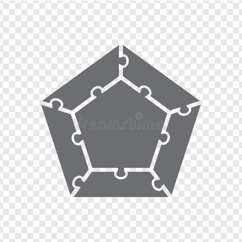 Simple icon pentagon puzzle in gray. Simple icon pentagon puzzle of the five elements and center on transparent background. vector illustration
