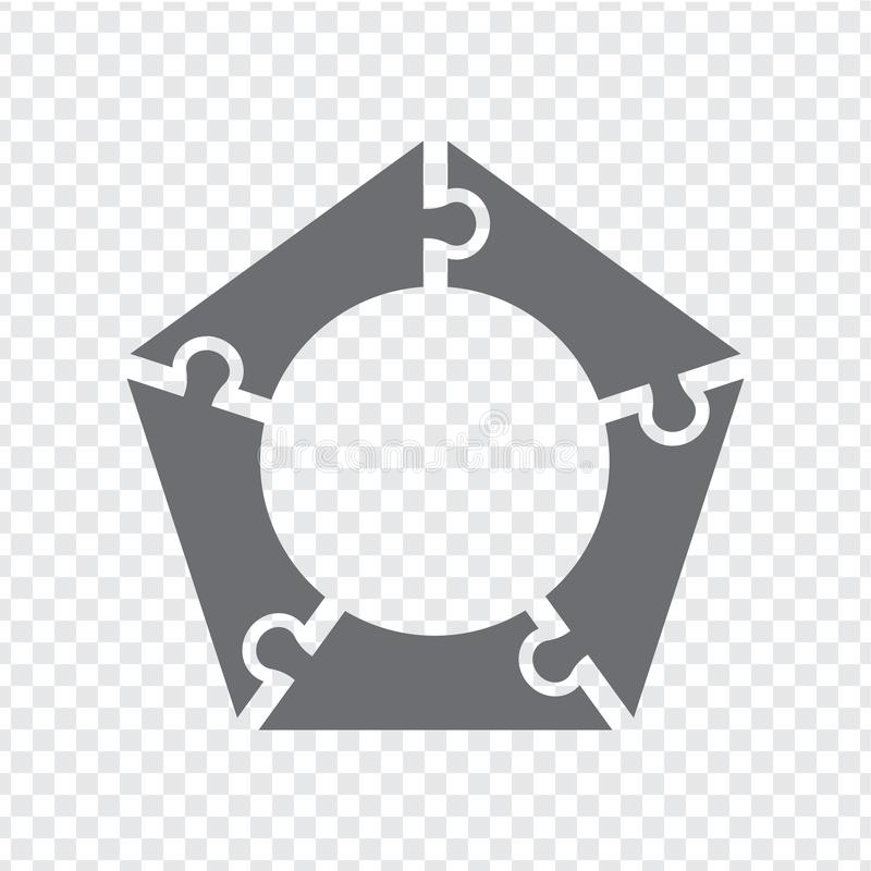 Simple icon pentagon puzzle in gray. Simple icon pentagon puzzle of the five elements  on transparent background vector illustration