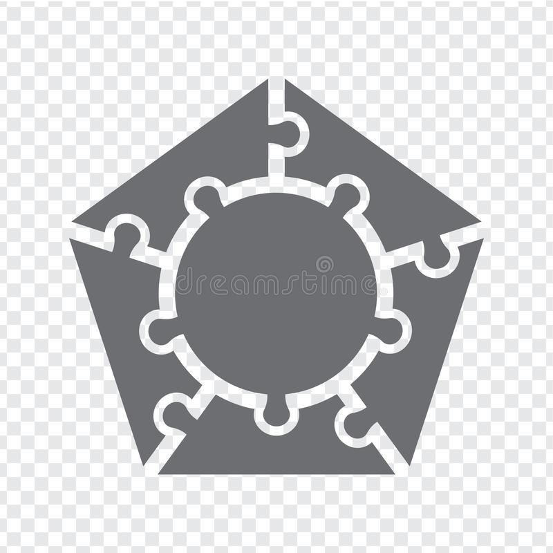 Simple icon pentagon puzzle in gray. Simple icon pentagon puzzle of the five elements and center on transparent background stock illustration