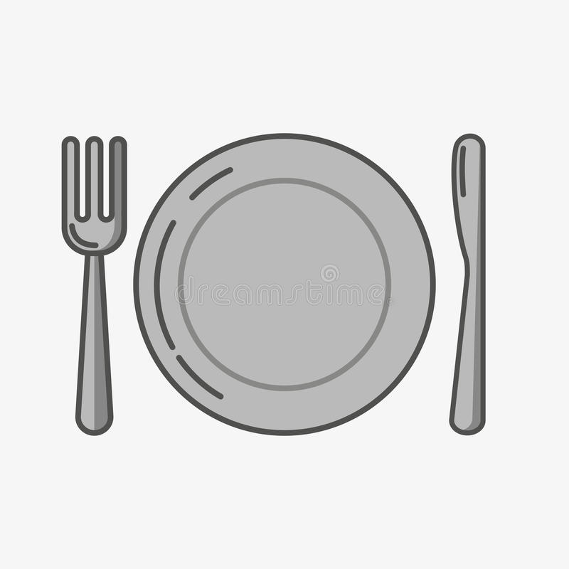 A simple icon of a place and fork with knife. stock photography