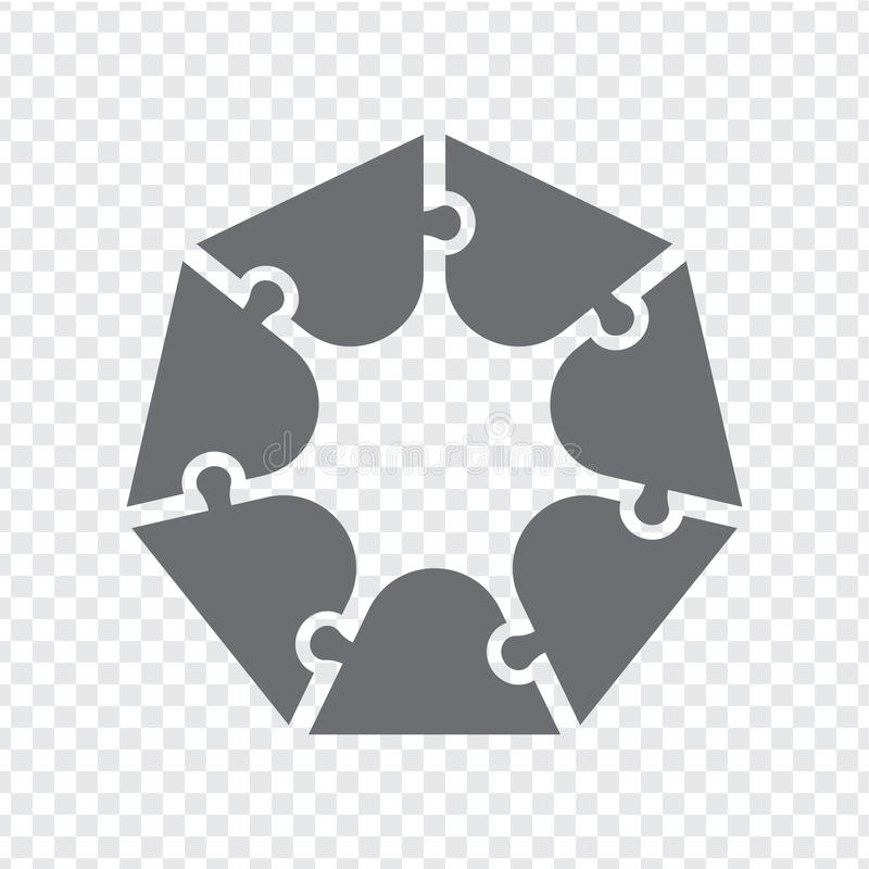 Simple icon polygonal puzzle in gray. Simple heptagon puzzle  of seven pieces  on transparent background stock illustration