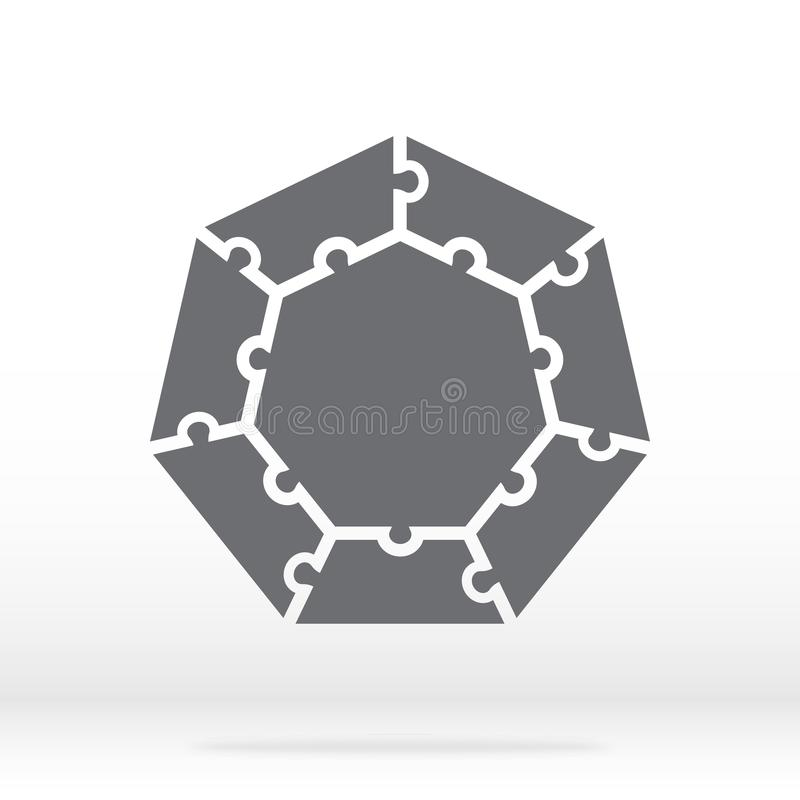 Simple icon polygonal puzzle in gray. Simple icon polygonal puzzle of the seven elements and center on gray background. stock illustration