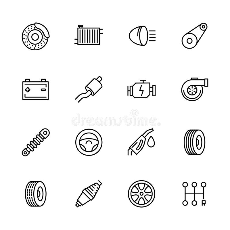 Simple icon set car repair and maintenance. Contains such symbols parts engine, radiator, brakes, battery, muffler royalty free illustration