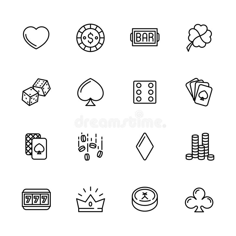 Simple icon set casino, gambling and card games. Contains such symbols dice, cards, suit, chips, money, bets, jackpot. Slot machines stock illustration