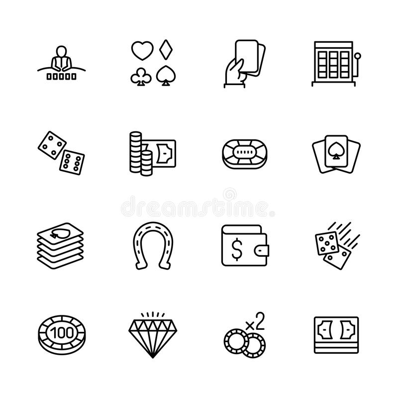 Simple icon set casino, gambling and card games. Contains such symbols diller, player, dice, cards, suit, chips, money. Bets jackpot slot machines vector illustration