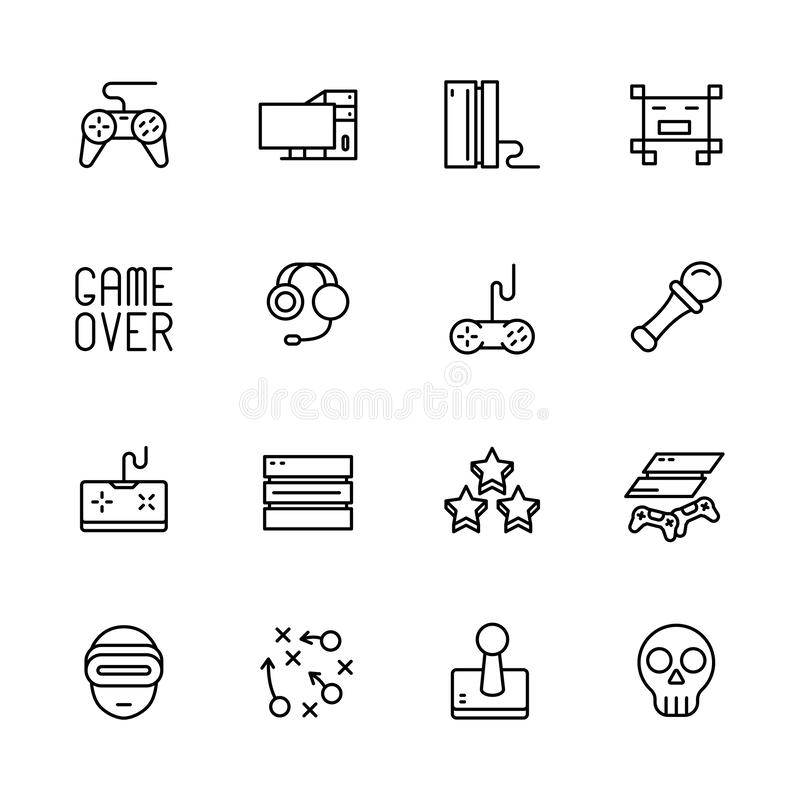 Simple icon set computer games. Contains such symbols game joystick, console, server, gaming equipment, strategy. Virtual reality glasses, remote controller royalty free illustration